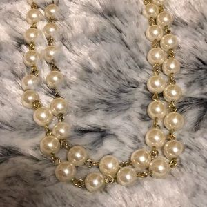 ☝🏻😍 Gorgeous! White Pearl And Chain Necklace 25""
